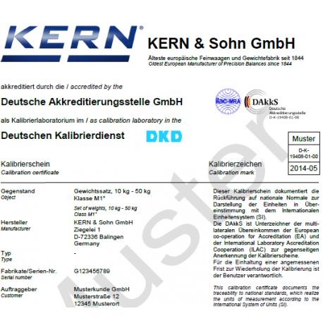 Certificat d'étalonnage DAkkS pour poids de 1g - 2kg