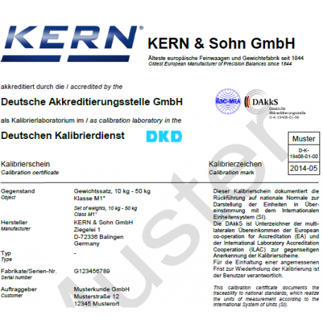 Certificat d'étalonnage DAkkS pour poids de 1g - 200g